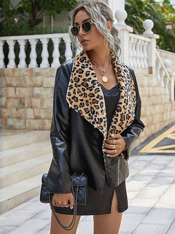 Contrast Leopard Waterfall Collar PU Leather Coat