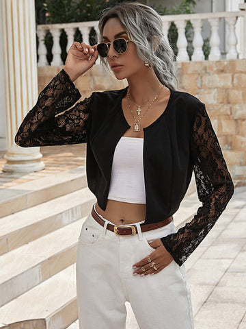 Contrast Lace Sleeve Open Front Jacket