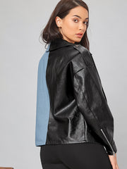 Notched Collar Zip Up Spliced PU Leather Jacket