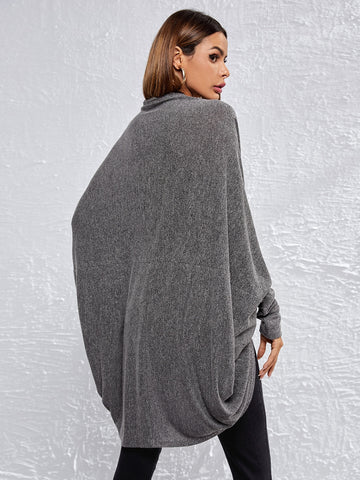 Open Front Cape Sleeve Solid Coat