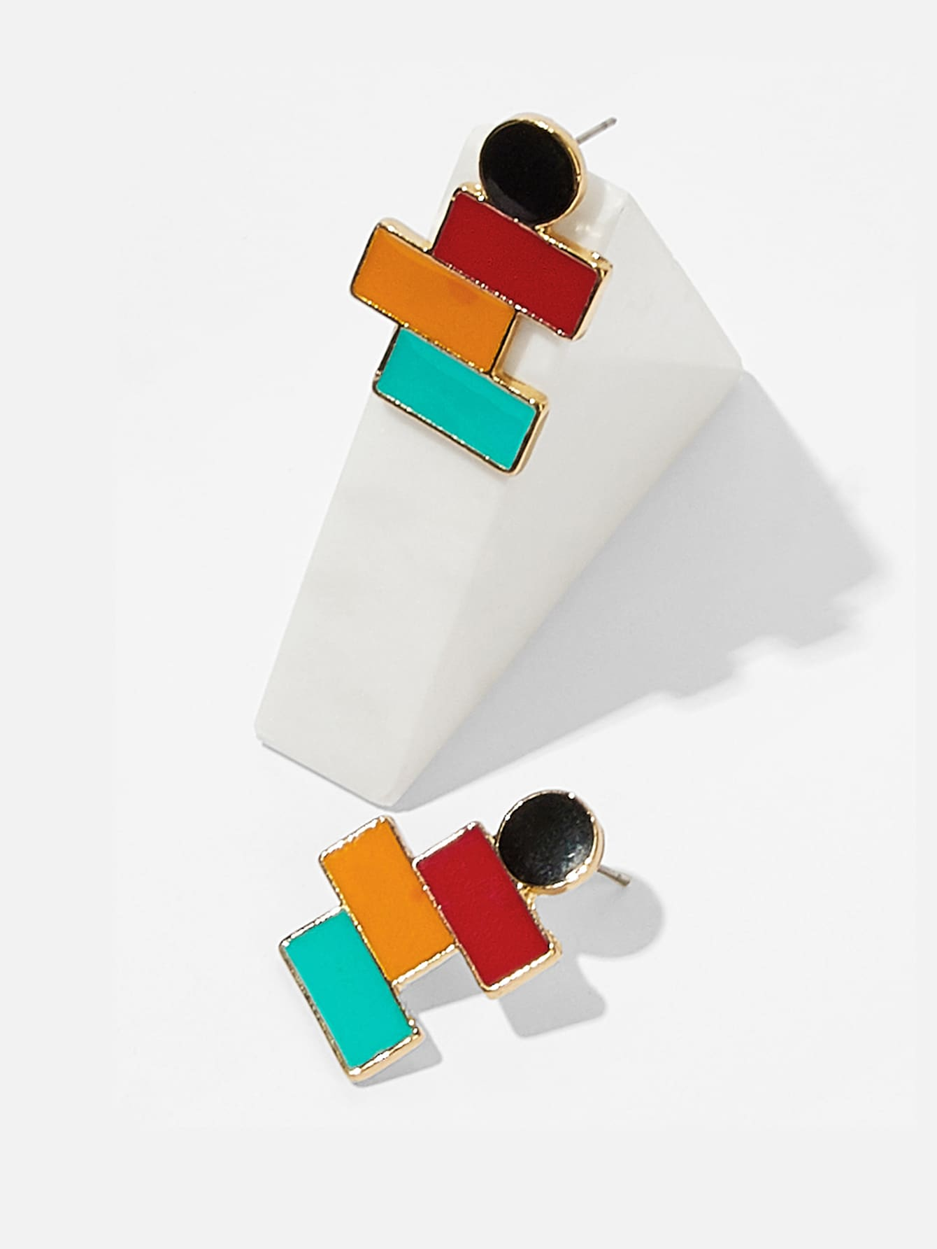 Color-block Geometric Stud Earrings 1pair