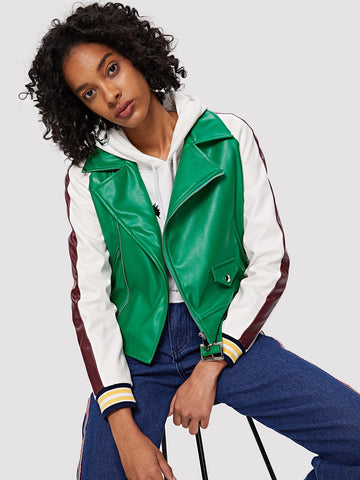 Notch Neck Zip Detail Biker Jacket with Buckle Belt