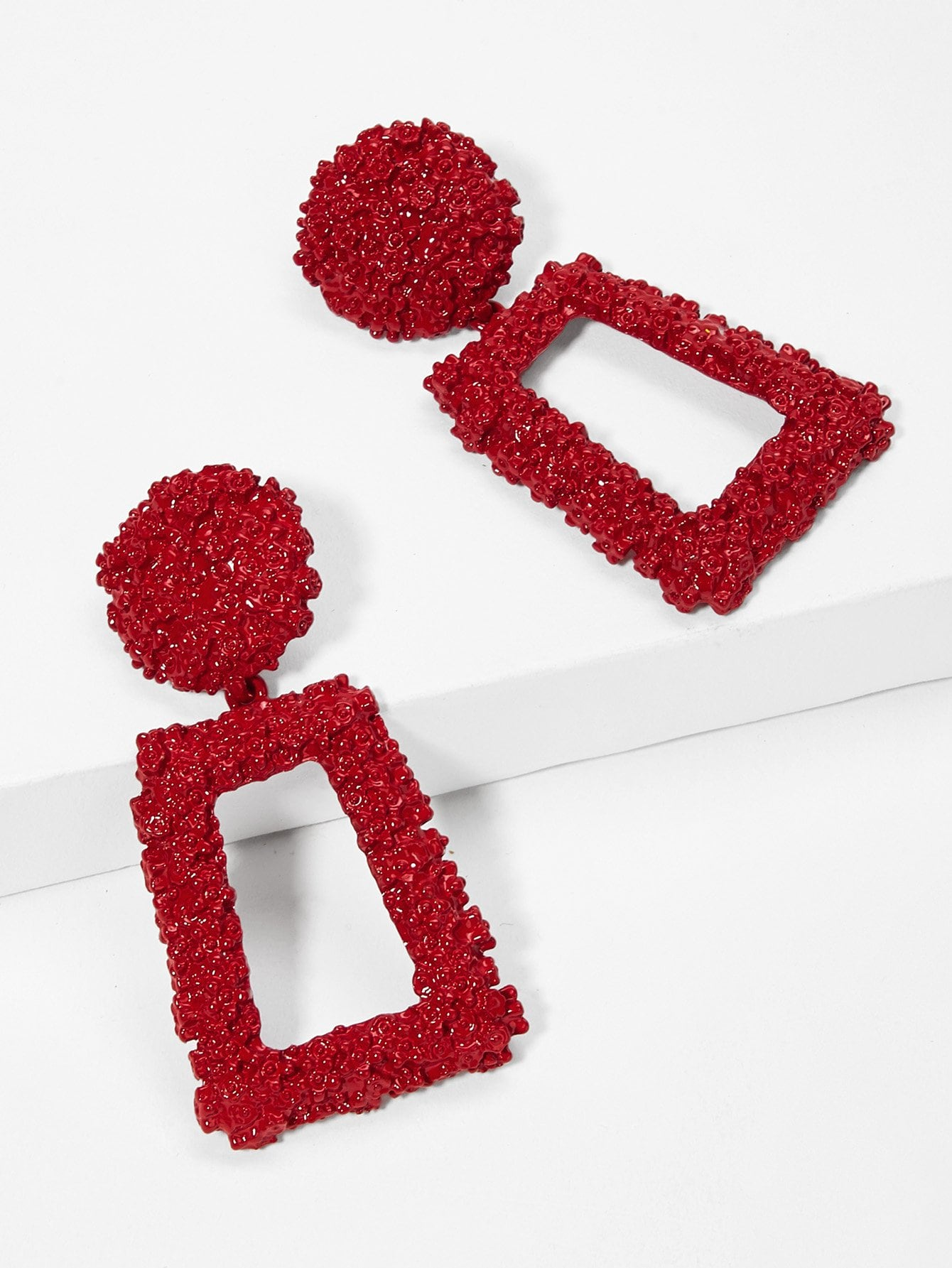 Open Rectangle Textured Drop Earrings 1pair