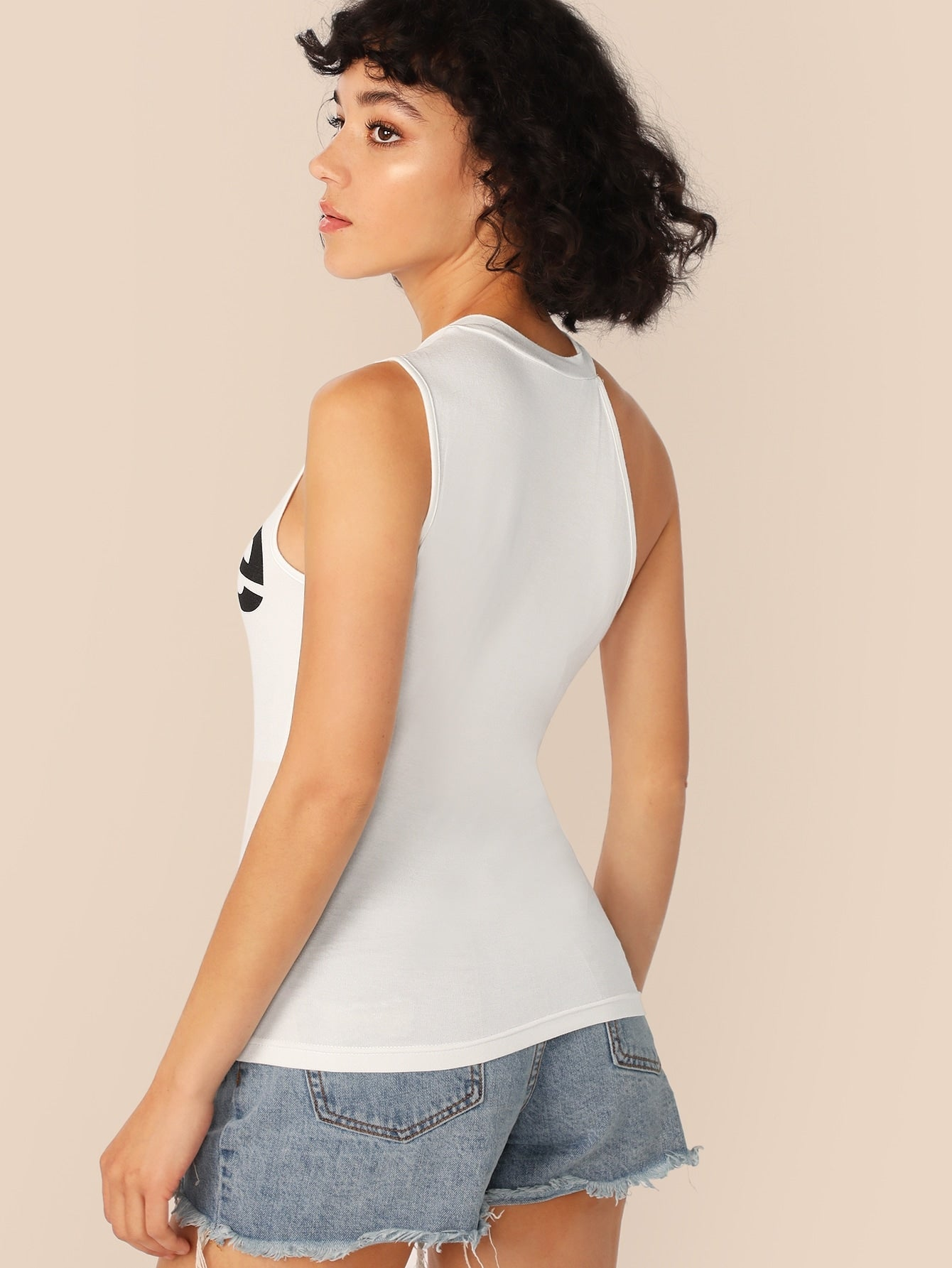 Letter Print Asymmetric Neck Top