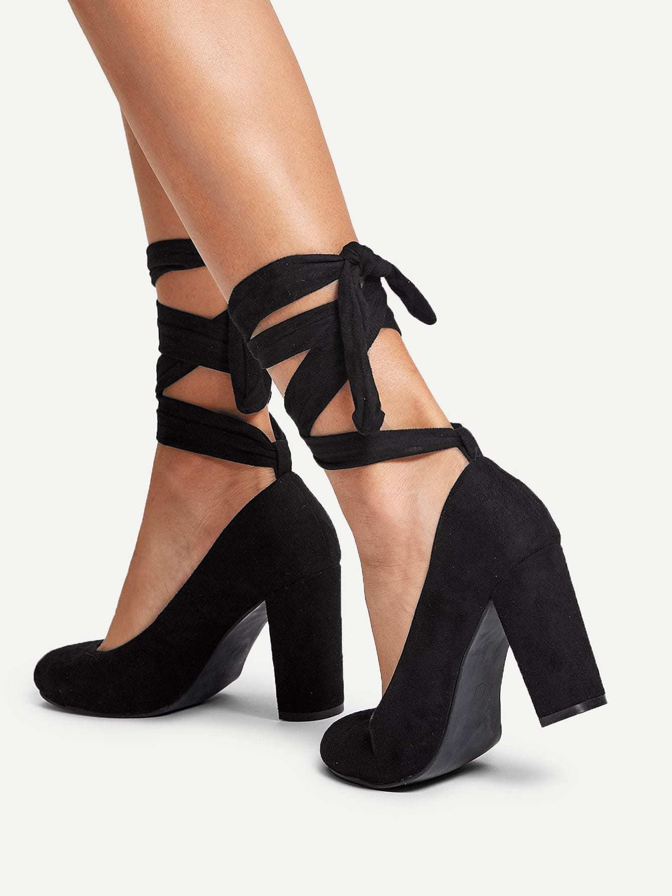 Lace Up Block Heeled Pumps
