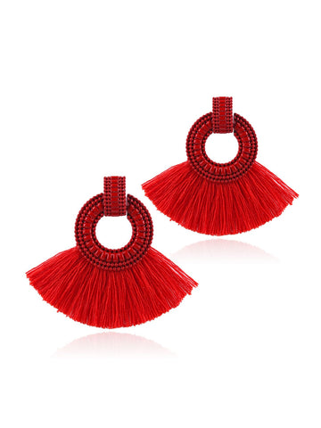 Tassel Decorated Hoop Drop Earrings 1pair
