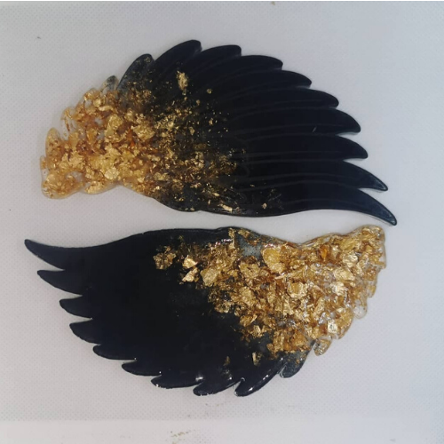 Set of Two Black and Gold Wing Coasters