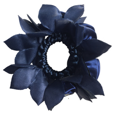 Load image into Gallery viewer, Navy Blue Rose Hair Scrunchie