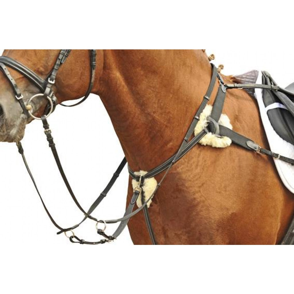 5 Point Breastplate with lambswool - Cob - Black
