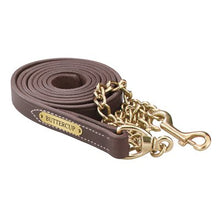 Load image into Gallery viewer, Leather Lead w/solid brass chain & plate (7 feet)