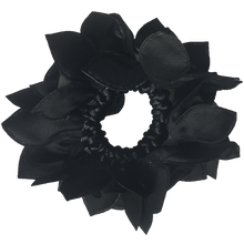 Load image into Gallery viewer, Black Rose Hair Scrunchie with Crystals