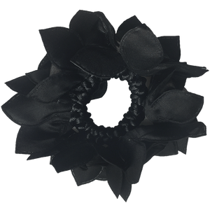 Black Rose Hair Scrunchie with Crystals