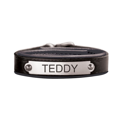 Padded Leather Bracelet with Plate