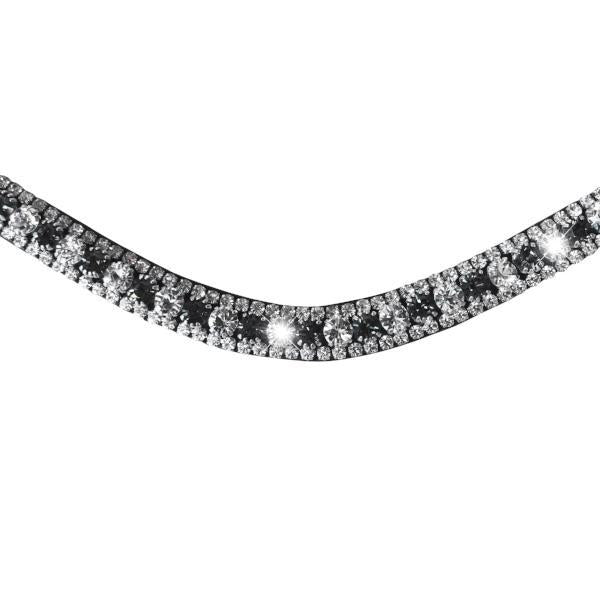 Silver, Deep Wave Crystal Browband - Black, Small loop