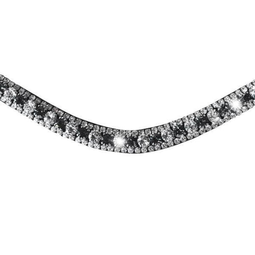 Silver, Deep Wave Crystal Browband (Black leather)