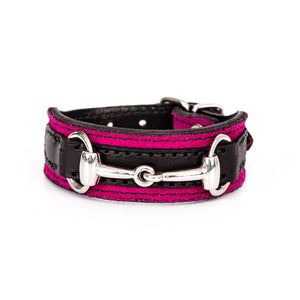 Pink Suede/Black Leather Bit Bracelet