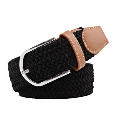 Black Elastic Braided Belt