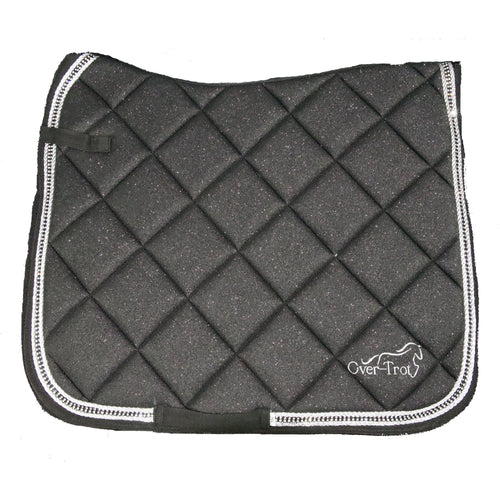 Over-Trot Black Glitter Performance Saddle Pad - Dressage-Over-Trot-Tacklet