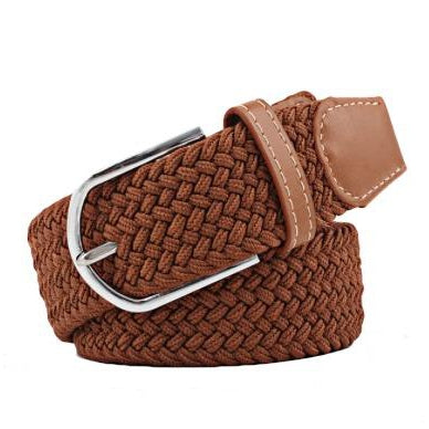 Brown Elastic Braided Belt