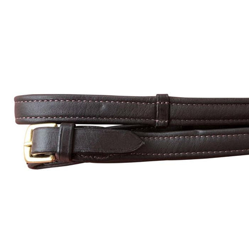 Padded Nappa Leather Reins (Flat) - Brown w/brass fittings