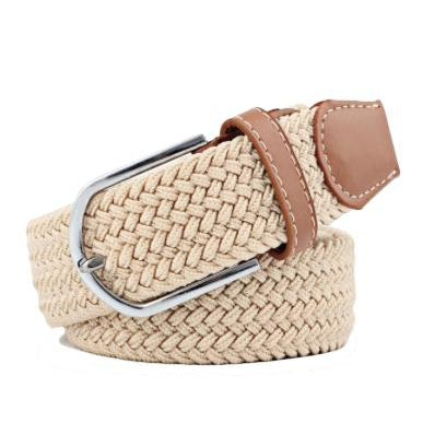 Cream Elastic Braided Belt