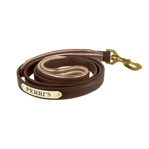 Padded Leather Dog Leash with Plate