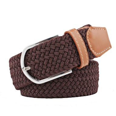 Dark Coffee Elastic Braided Belt (Pre-Order)