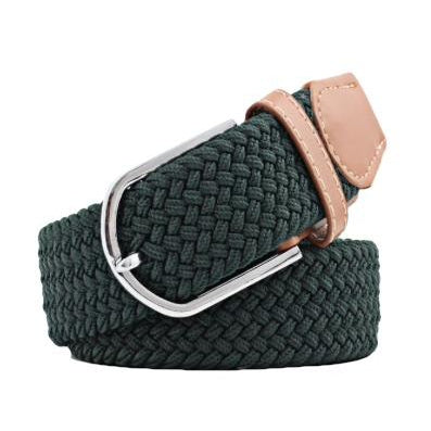 Hunter Green Elastic Braided Belt
