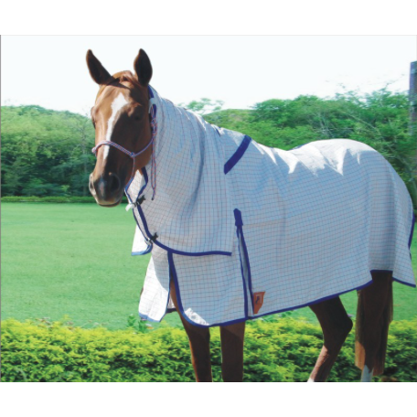 Capriole Equestrian Eco Rose & Royal Blue Polyester Check Combo-Capriole Equestrian-Tacklet