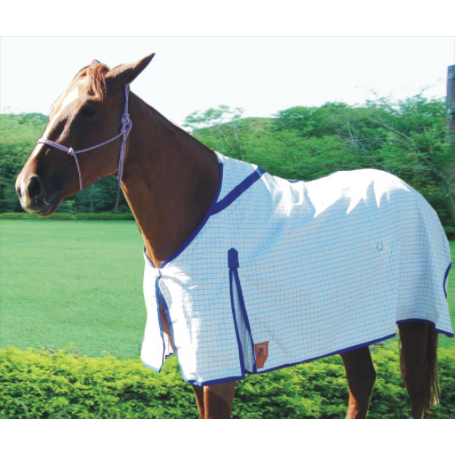 Capriole Equestrian Eco Rose & Royal Blue Polyester Check Rug-Capriole Equestrian-Tacklet