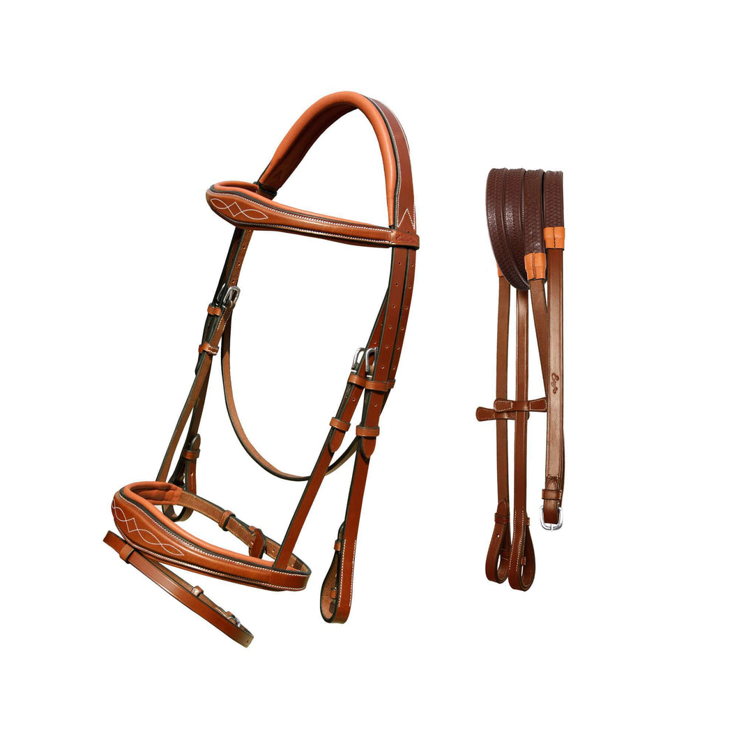 Fancy Stitch Padded Wave Hanoverian Bridle - Conker - Full Size - Stainless Steel