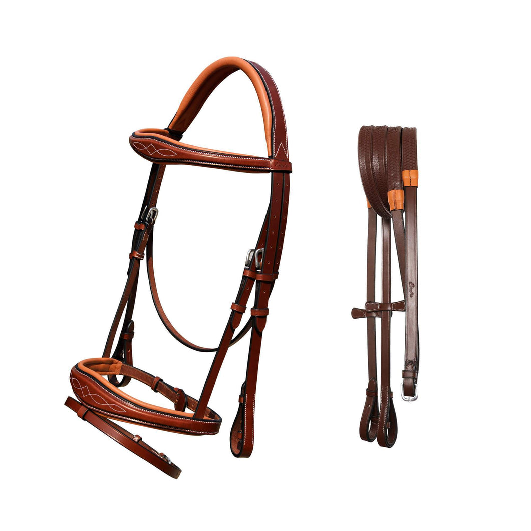 Fancy Stitch Padded Wave Hanoverian Bridle - Oak Brown - Full Size - Stainless Steel