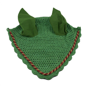 Green Ear Bonnet with red and gold binding