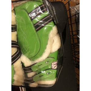 Apple Green Patent Jump Boots with mink fleece - Cob size - Damaged bag