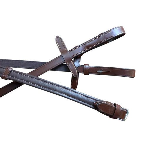 Padded Nappa Leather Reins (Flat) - Oak Brown (Silver Fittings)