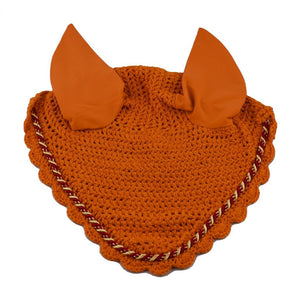 Orange Ear Bonnet with red and gold binding