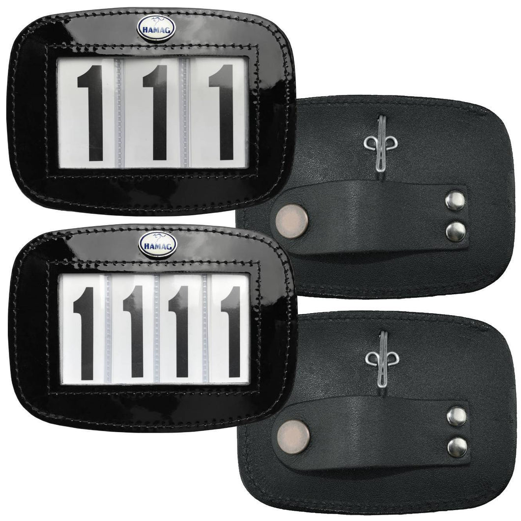 Patent Leather Bridle Number Holders (Pair) - 4 digit set