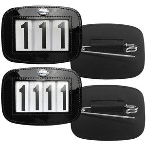 Patent Leather Saddle Cloth Number Holders (Pair) - 4 Digit