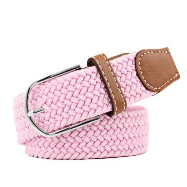 Pink Elastic Braided Belt