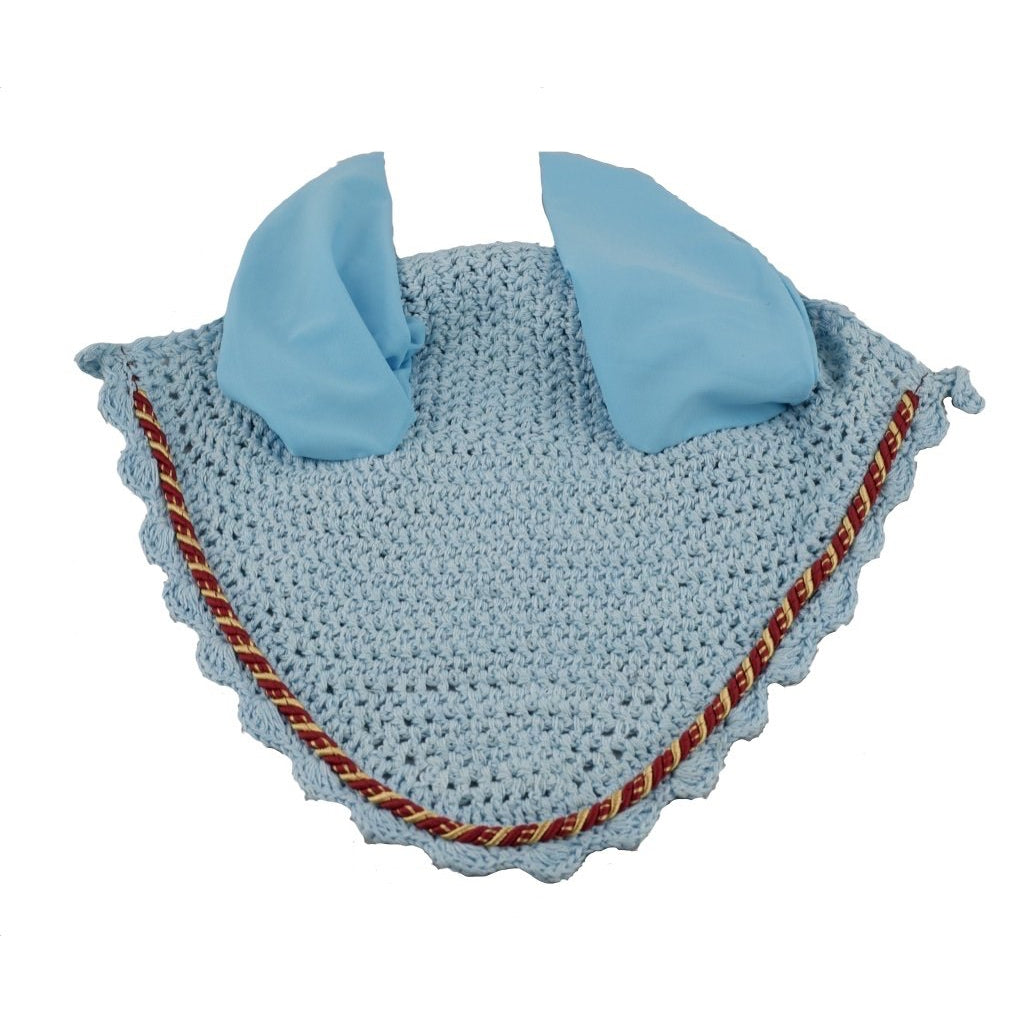 Powder Blue Ear Bonnet with red and gold binding