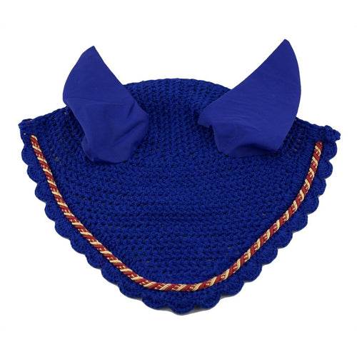 Blue Ear Bonnet with red and gold binding