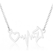Load image into Gallery viewer, ECG Heart Horse Pendant