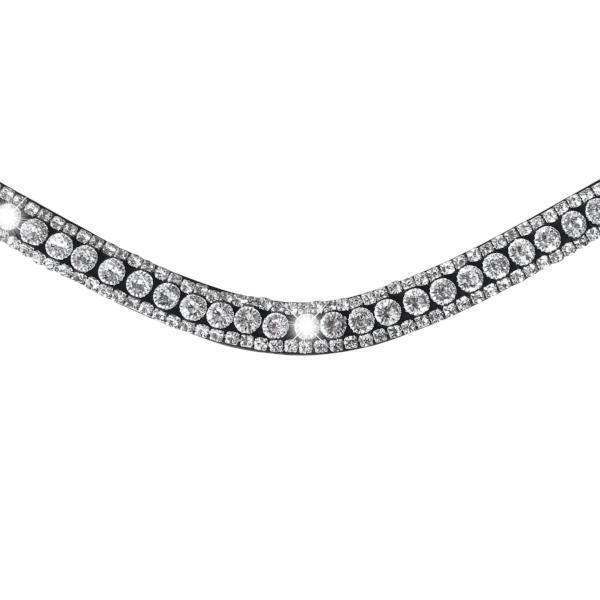 Solitaire Crystal Browband (Black Leather)
