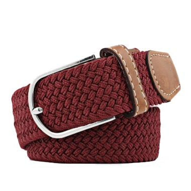 Wine Red Elastic Braided Belt