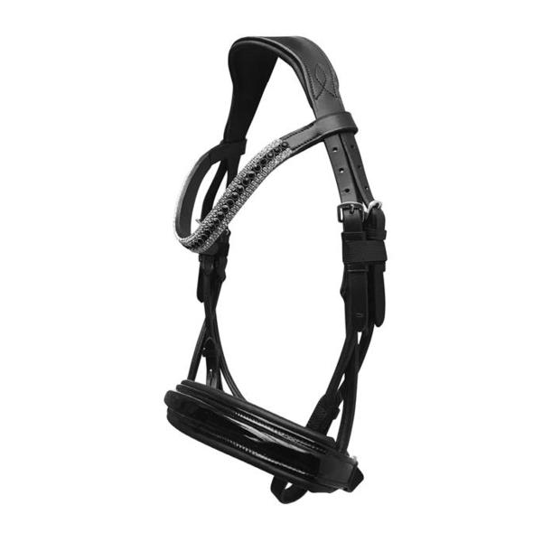Amelie Italian Rolled Leather Bridle (Cavesson) - Black