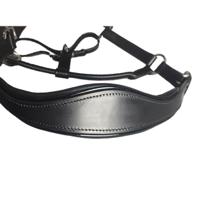Black Leather Halter - Patent Piping with Engraved Horse Nameplate