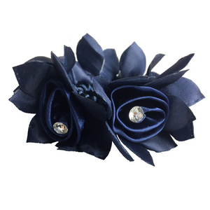 Navy Blue Rose Hair Scrunchie side view