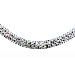 Champagne Crystal Browband (Black Leather)