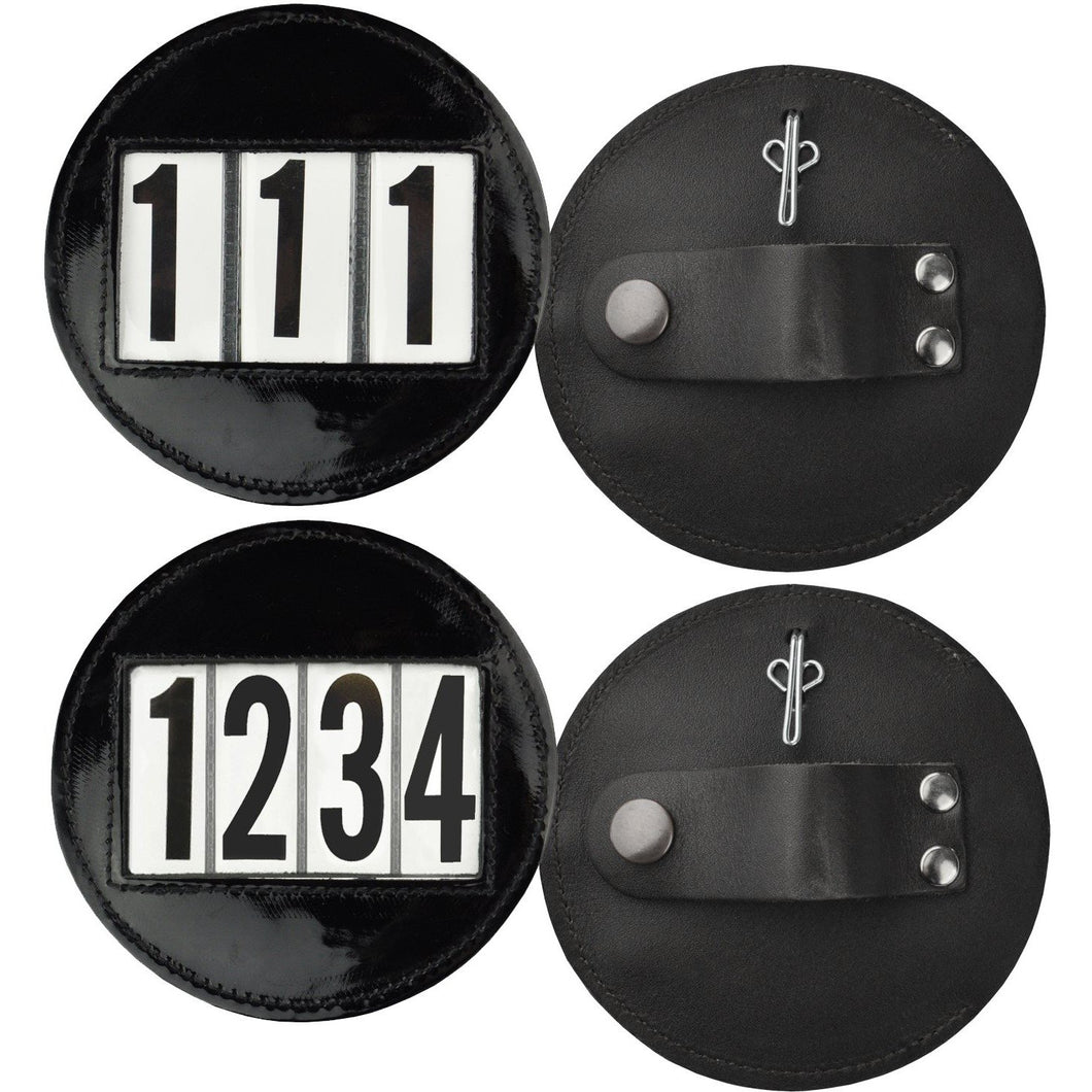Round patent leather bridle number holders pair - 4 digit set