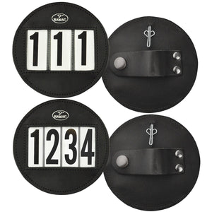 Round leather bridle number holders pair - 4 digit set